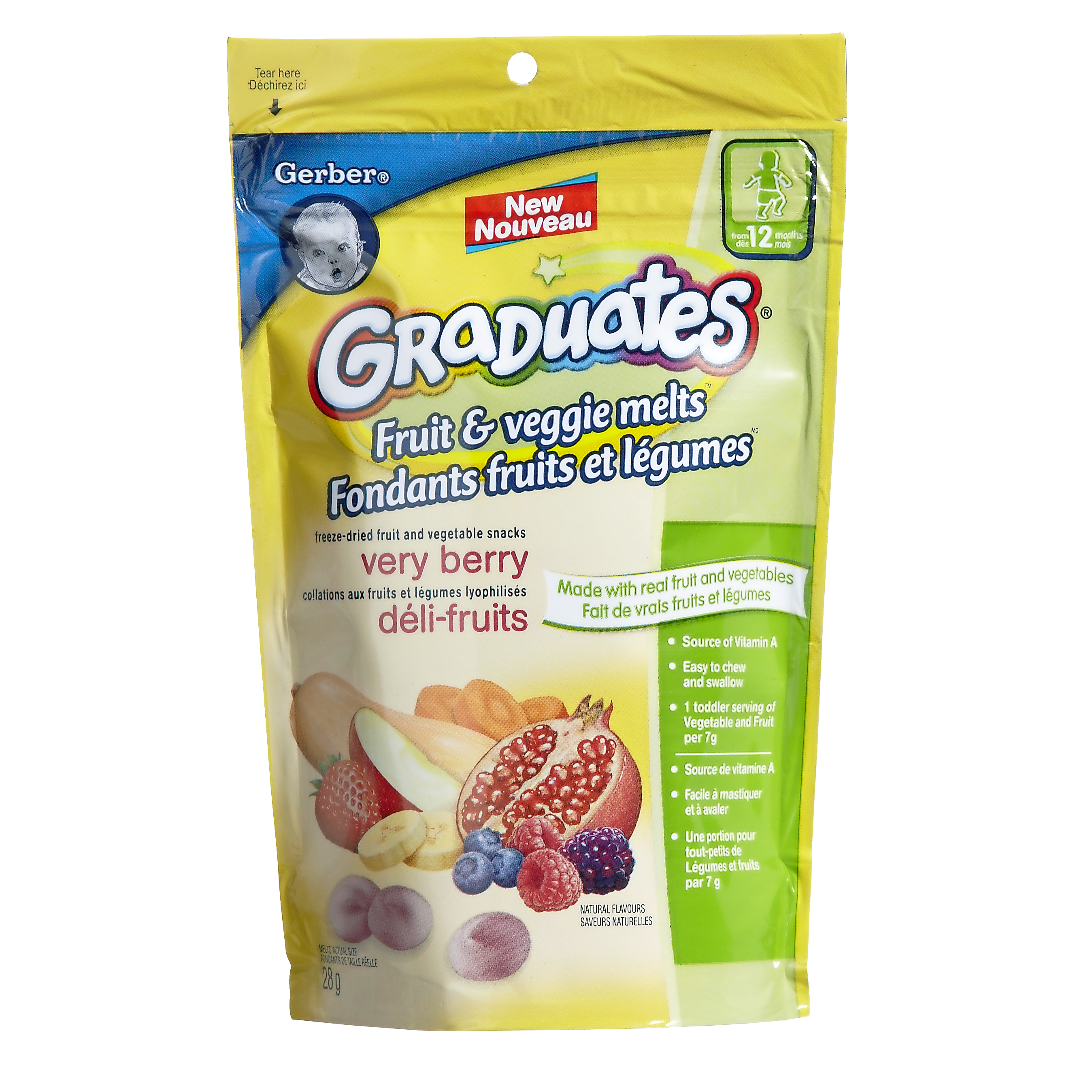 Gerber Graduates Fruit and Veggie Melts Very Berry 28 g
