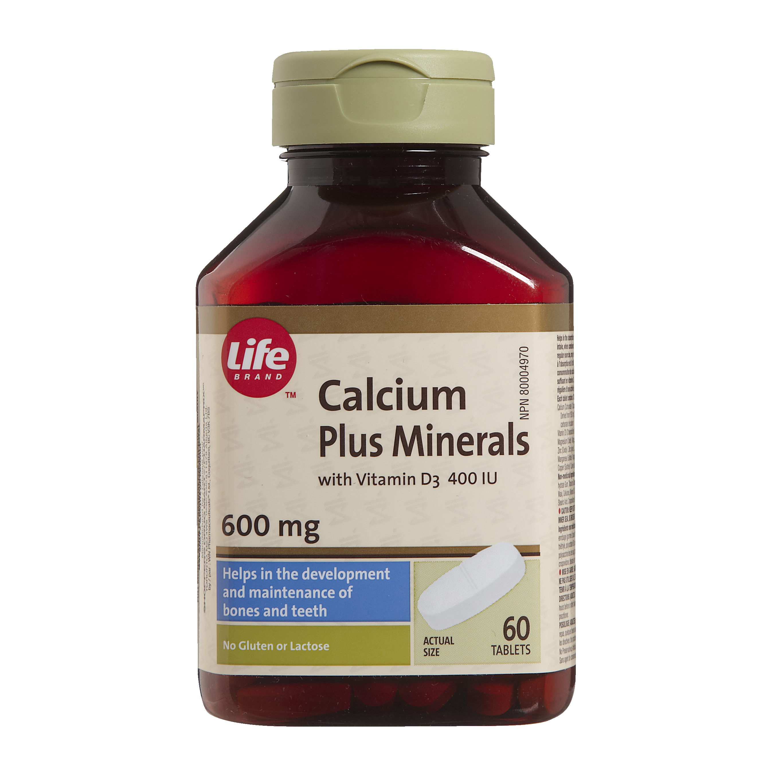 Life Brand Calcium 600 mg plus Minerals with Vitamin D3 400 IU Tablets